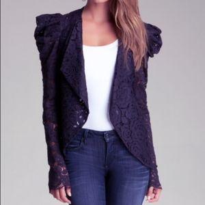 bebe | Lace Cowl Waterfall Jacket in Black